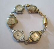 Watch Bracelet Made From Vintage Watch Faces Magnetic Clasp Some Gold Filled
