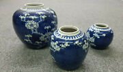 Antique Chinese Blue And White Porcelain Ginger Jars Set Of 3