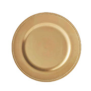 Gold Round Beaded Decorative Charger Plates For Dining Table 13 Inch - Set Of 5