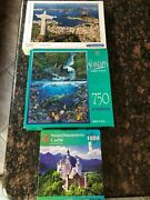 Lot Of 3 Very Nice 500 - 750 - 1000pc Jigsaw Puzzles - Plenty To Keep You Busy