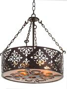 Fitzgerald Chandelier 4-light Amber Copper Gold Silver Mica Stone Can