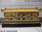 Chinese Copper Cloisonne Auspicious Royal Palace Nine Dragon Wall Folding Screen