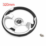 Universal 320mm Outer Dia 6 Holes Anti Slip Steering Wheel Silver Tone For Car