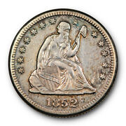 1852 O 25c Seated Liberty Quarter Extra Fine To About Uncirculated Key Date T...
