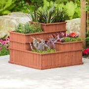 4 Tier Solid Wood Raised Garden Bed 3 Ftx3 Ft Planter Box Elevated Flowers Herbs