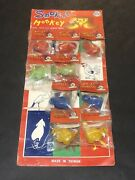 Vintage Lot Of 9 Smoking Monkey With Cigarettes Dime Store Toys W/display Card