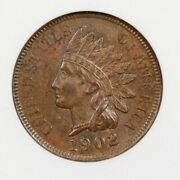 1902 Indian Head Cent Repunched Date Anacs Au58 Old Small Green Lettered Holder