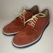 Cole Haan Lunargrand Wing Tip Chili Pepper Red Suede 11.5m C12652 4th Of July