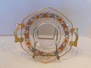 Clear Glass Small Serving Plate With Munti-colored Flower And Gold Trim And Handles