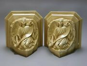 Pair Of Antique Architectural Molded Plaster Figural Maiden Hanging Wall Shelves
