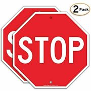 Stop Sign 2 Pack Street Slow Warning Reflective Signs 12 X Inches Rust Free