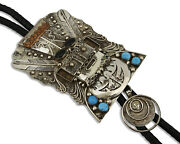 Navajo Bolo Tie .925 Silver Turquoise Artist Signed Yazzie Circa 1980and039s