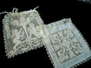 Two Antique Filet Lace Brideand039s Purses - Cupids And Flowers Drawstring Closure