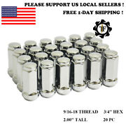 20pc 2.0and039and039 Chrome 9/16-18 Bulge Acorn Conical Seat Wheel Lug Nut Fit Chrysler