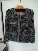 - Classic Jacket Black Blue And Silver 4 Pockets Zip Closure Fr44