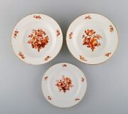 Three Antique Meissen Porcelain Plates With Orange Hand-painted Flowers.