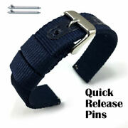 Blue Canvas Nylon Fabric Watch Band Strap Army Military Style Steel Buckle 3054