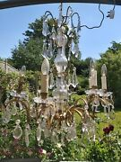 Antique French Chandelier Cut Glass And Gilt Metal