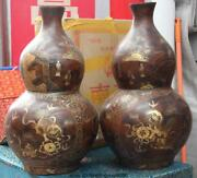 Old Wood Lacquer Ware Outline In Gold Foo Fu Dogs Lion Bottle Gourd Vase Pair