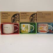 3x Starbucks California Ornament Mugs You Are Here / Been There / Christmas Demi