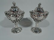 Victorian Compotes - Antique - English Sterling Silver Red Glass - Angell 1845/8