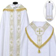 Priest Pastor White Cope Stole And Humeral Veil Set