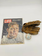 Baseball Lot Mickey Mantle Gj 99 Glove And 1965 Life Magazine And Signed Dodger Ball