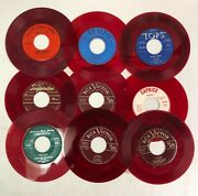 Lot Of 10 Red Color Vinyl 45 Rpm Vinyl Records For Crafts And Decoration 7