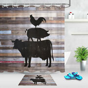 Rustic Wood Board Farm Cow Pig Rooster Shower Curtain Set For Bathroom Decor