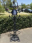 Large Antique 19th Century Victorian Wrought Cast Iron Hall Tree Coat Stand
