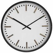 Luxe Mid Century Modern Round Wall Clock 32 In Bronze Gold White Retro Large
