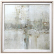 Elegant Modern Abstract Landscape Print Wall Art Gray Beige Tan Turquoise Square