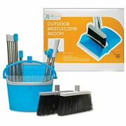 Bristlecomb Outdoor Broom And Dustpan Set Upright Andndash 64andrdquo Long Pan With