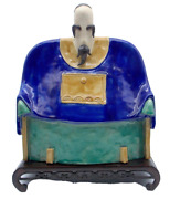 Shiwan Chinese Pottery Blue And Green Porcelain Elder Figure Two Stamp Marks