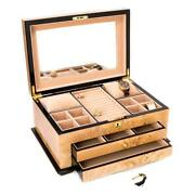 3 Level Jewelry Box Gold Accents Locking Lid Storage Organizer Lacquered Wood
