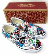 Menand039s All Sizes Comics Classic Slip On Stickers Mash Up Shoes Vn0a38f7vfv