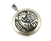 Hopi Spinner Pendant .925 Solid Silver Signed Artist Cheryl Wadsworth Circa 80and039s