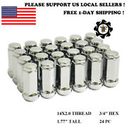 24pc Chrome 14x2 Conical Seat Lug Nut Bulge 1.77and039and039 Fit F150 Navigator Expedition