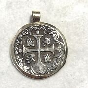 14k Yellow Gold Pendant With Authentic Silver Spanish Pirate Coin Pb6