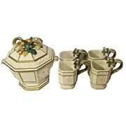 Fitz And Floyd Covered Bowl With 4 Mugs 1996 Christmas