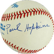 Paul Hopkins Autographed Al Baseball Inscribed Pitched Babe Ruth's 59th Hr Psa
