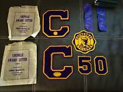 Vintage Springfield Il Cathedral Cyclones Varsity Chenille Award Letter Lot