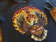 Vtg Harley Motorcycle Long Sleeve Shirt Thermal Mens 1990 Flame Eagle Chicago Il