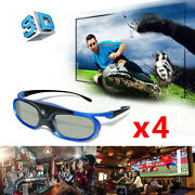 4x 3d Active Shutter Glasses For Optoma Dlp Link 3d Projector Sony Dell Samsung