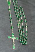 Outstanding Vintage Rosary Champleve Enamel Sterling Silver