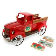 Antique Truck Ice Chest Cooler Chiller Decorative Solar Lighted Party 2 Qt Red