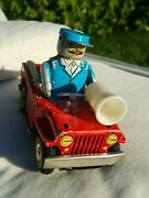 Vintage Fire Truck Chief 653 Ms 884 China Wind Up 1960and039s Car Tin Toy Works Parts