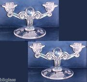 2 Tiffin Twin Lite Candlesticks Glass Ball Floral Etch Double Candelabra Duo