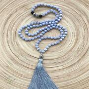 8mm Natural Blue Agate Blue-veins Stone 108 Beads Necklace Mala Wrist Monk