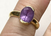 18k Gold Faceted Amethyst Ring. Sz 5. Vintage Jewelry. Stamped 750. Contempo